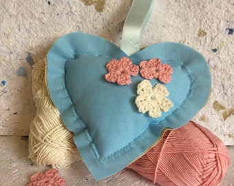 Heart Small Pink White Cherry Blossom Hanging With Dried Lavender Velvet Handmade Paper Label