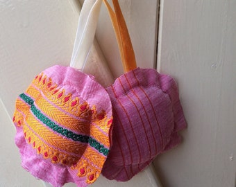 Hanging circles, four, pink, small, pillow, sari, recycled, handmade, gift