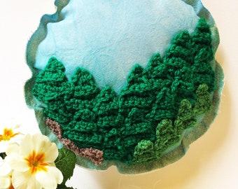 Nature Wall Hanging Art, Tree Theme, Textile Art, Round Art, Fabric, Padded, Gift