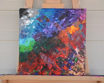 Palette Knife Painting | Abstract Rainbow Painting on Canvas | Colorful Abstract Painting | Colorful Textured Painting | Original Artwork