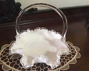 Fenton Silver Crest lait verre panier années 1960