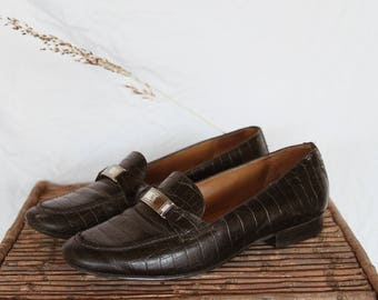 4df6065abfa Vintage Ralph Lauren Leather Loafers - 90s Minimal Croc Loafers