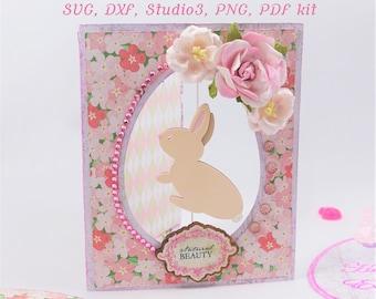 SVG Bundle Easter Bunny Card, Easter SVG, digital download, DXF files for laser, laser cut greeting cards, Bunny svg, Spinner svg for Easter