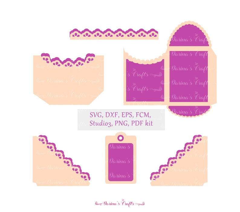 6 Lace Tags and Pockets SVG kit, Lace Border SVG, Scrapbook SVG Bundle,  cutting files for laser, Silhouette Cameo, Cricut