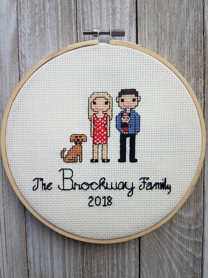 Personalized Couple Portrait Custom Family Portrait Embroidery Birthday Engagement and Anniversary Gift for Wedding