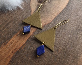 Hammered Brass Triangle and Lapis Diamond Earrings