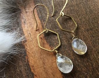Golden Rutilated Quartz Briolette Hexagon Earrings