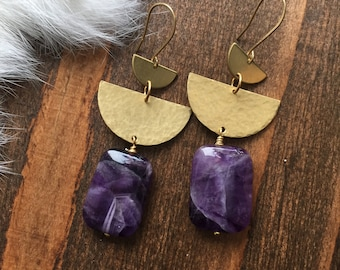 Dogtooth Amethyst and Hammered Fan Brass Earrings