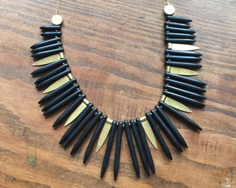 Black Magnesite Spike Fringe  Necklace
