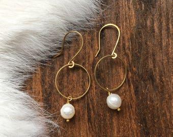 Brass Hoop Pearl Earrings