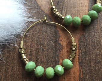 Green Jade and Brass Hoop Earrings