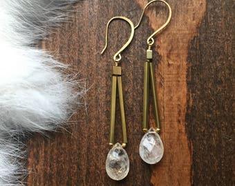 Golden Rutilated Quartz Hemeli Style Brass Earrings