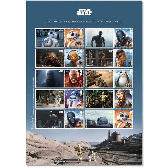 Star Wars Droids Aliens And Creatures Sheet Star Wars Collectors Item This Is A United Kingdom Postage Stamp Sheet