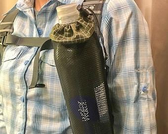 Water Bottle Holder, 210D HDPE Gridstop, Black