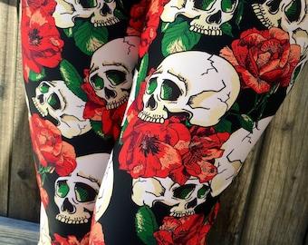 342db373c0745 Skulls & Red Flowers Leggings Capris Woman's Leggings Printed Leggings Yoga  Workout Exercise Pants Flower Skull Leggings Pants