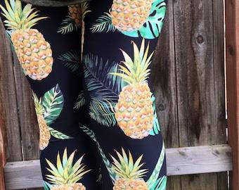 487d9f5e8c7d24 Leggings Pineapples Leggings or Capris Woman's Leggings Printed Leggings  Yoga Workout Exercise Pants Crazy Unique Pineapple Leggings Pants