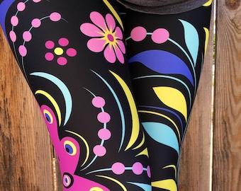 c0e2d15d8ac1ec Retro Floral Leggings or Capris Woman's Leggings Printed Leggings Yoga  Workout Exercise colorful graphic Print Leggings Pants