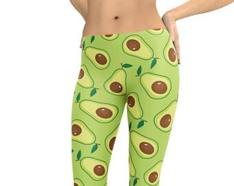 41c97ff10b2a3 Avocado Guacamole Leggings or Capris Woman's Leggings Printed Leggings Yoga  Workout Exercise Graphic Print Leggings Pants