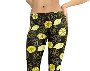 ae25a07069faa0 Lemon Leggings Sour Puss Leggings or Capris Woman's Printed Leggings Yoga  Workout Exercise Pants Crazy Unique Fruit Summer Pants