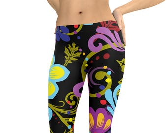 c96e361517c4ff Retro colorful Floral Leggings or Capris Woman's Leggings Printed Leggings  Yoga Workout Exercise colorful graphic Print Leggings Pants