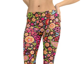 8b6e77654e Hippie Peace Sign Love Watermelon Leggings or Capris Woman's Printed Leggings  Yoga Workout Exercise Pants Crazy Flower Child Leggings Pants
