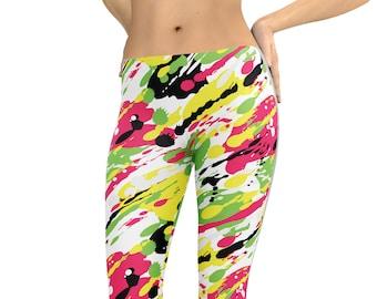 da04855fa469b Paint Splatter Leggings Capris Woman's Printed Leggings Yoga Workout  Exercise Pants Crazy Unique Artist Art Leggings Painter Pants