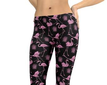 96175dae47978 Leggings Vintage Flamingos Flamingo Leggings or Capris Woman's Printed  Leggings Yoga Workout Exercise Pants Crazy Unique Leggings Pants