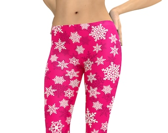 60831b22c02676 Leggings Pink Snowflake Holiday Christmas Capris Woman's Yoga Workout  Exercise Pants Crazy Unique Leggings Christmas Winter Pants