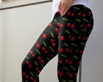 1e8fcb451d Cherry Cherries Leggings or Capris Woman's Printed Leggings Yoga Workout  Exercise Crazy Funny Print Pants