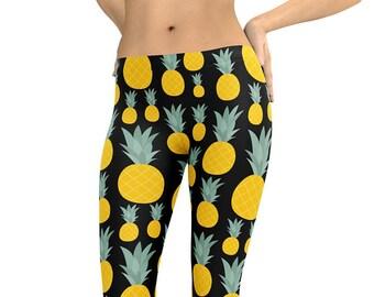 9d5ade73cf0b2 Leggings Pineapples Leggings or Capris Woman's Leggings Printed Leggings  Yoga Workout Exercise Pants Crazy Unique Pineapple Leggings Pants