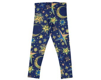 d530e802f6d2a Trendy Kid Clothes Child Youth Leggings Printed Play Workout Exercise  Stretch Pants Toddler 2T - Girls 14 yrs Gymnastics Dance Moon Stars