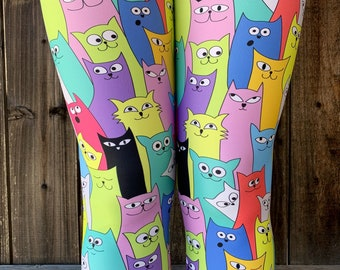 ff2c4cd9a49ae Cat Leggings / Capris Woman's Printed Leggings Yoga Workout Exercise Crazy  Unique Leggings Kitten Artsy Handdrawn cats modern print Pants