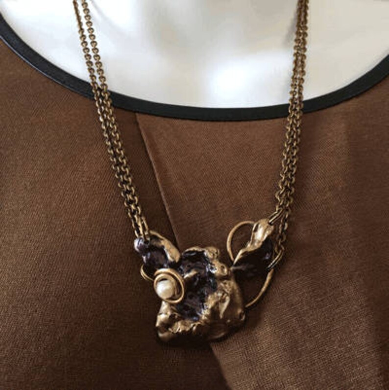 Necklace in bronze and Pearl image 0