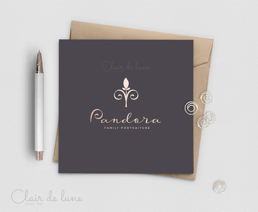 Modern Fleur De Lis Logo Ooak Logo Created For You Real Etsy