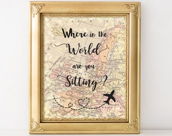 Travel wall art etsy on sale printable where in the world are you sitting world map 8x10 travel wall gumiabroncs Choice Image