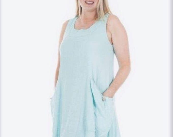 Lagenlook Washed Premium Linen Tunic Dress Pockets OneSize 10 12 14 16 in Blue