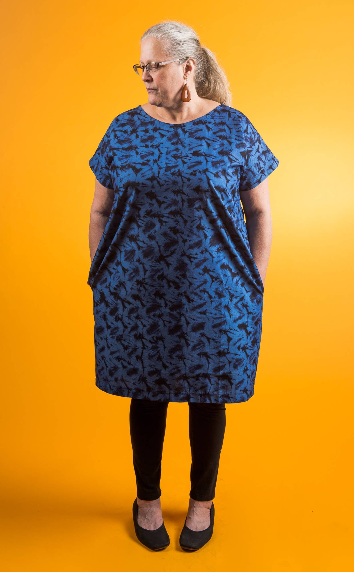 African Batik Dress Side Pockets Plus Size 20 Blue Cotton