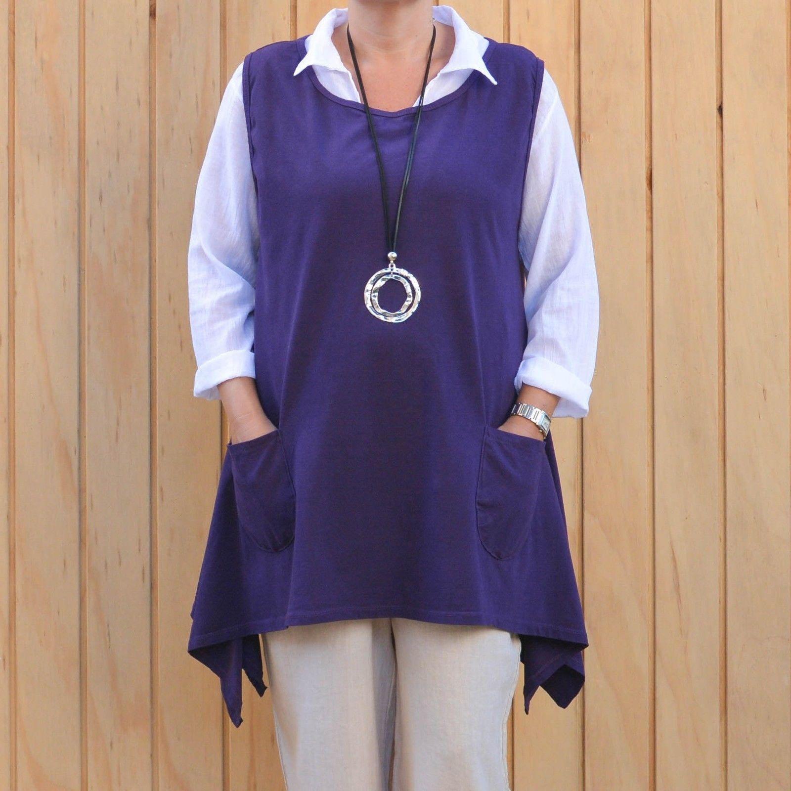91889971df3 Lagenlook Cotton Jersey Sleeveless Tunic Vest Purple Plus Size 16-20.  gallery photo ...