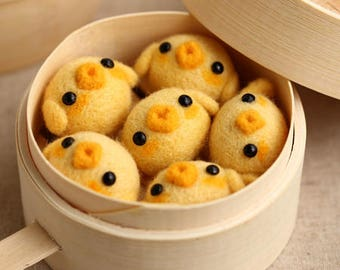 Needle felting kit - chick dim sum