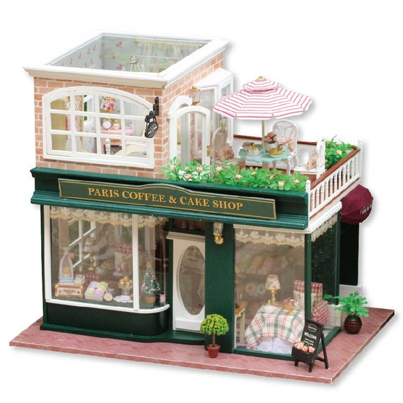 image 0 image 1 image 2 image 3 image 4 French Coffee Journey - Miniature DIY Dollhouse Kit