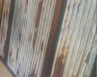 Unused  Rusted Tin Panels Unbent Barn Corrugated Sheetmetal Sheets Steel Antique Vintage Weathered Aluminum Panel Siding Rust
