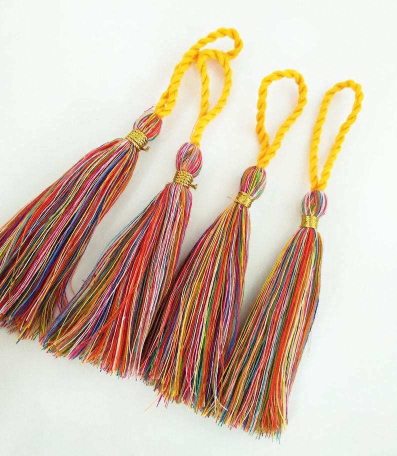 Jewelry-making rainbow tassel 5.5 Multi-color Cotton Tassels with Twisted Loop wedding supply decor Handmade DIY Boho fashion 10pcs