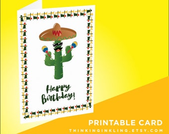 Funny Birthday Card O Printable Cactus Spanish Fiesta Thinking Of You Dancing OSpecial Occasion