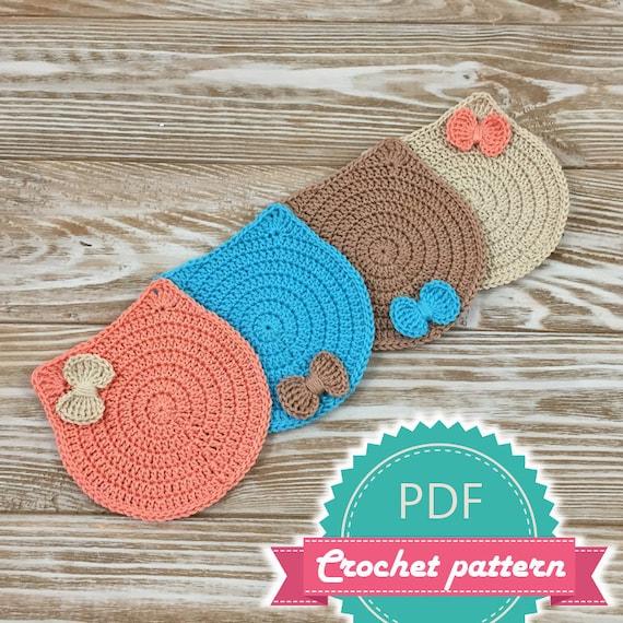 Pdf Crochet Cat Coaster Pattern Kitten Pattern Pattern Etsy