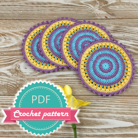Crochet Coaster Pattern Mandala Crochet Pattern Easy Crochet Etsy