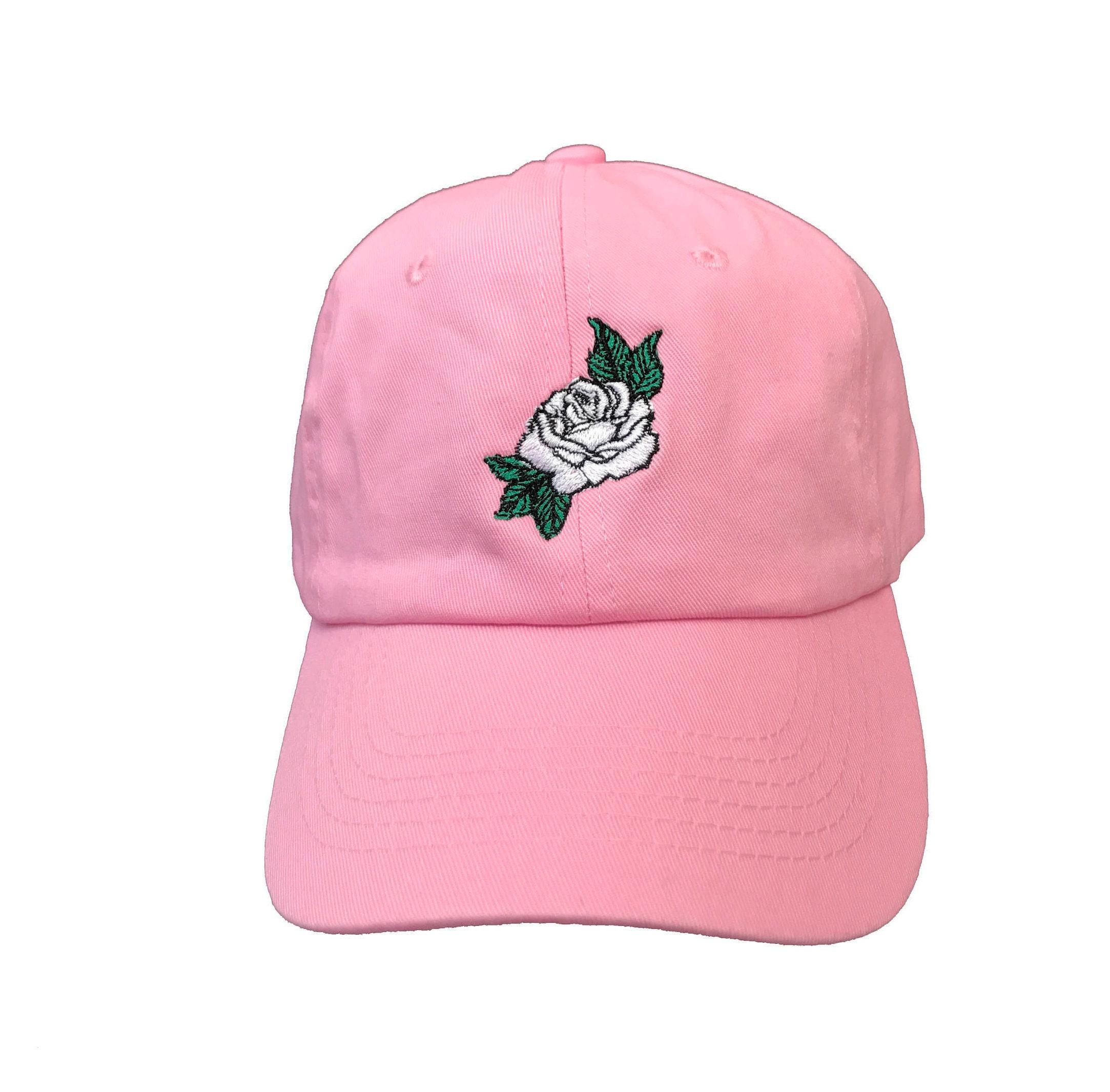 White Rose Dad Hat Pink Baseball Cap Custom Dad Hats Low  874114803db