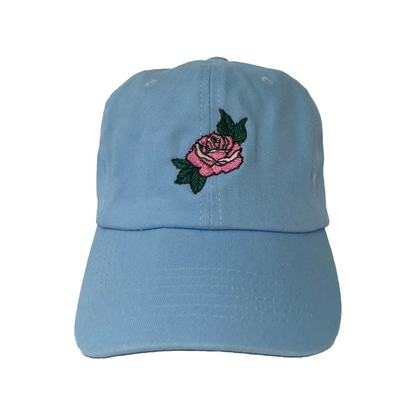 b3f98368aac Pink Rose Dad Hat Blue Baseball Cap Custom Dad Hats Low