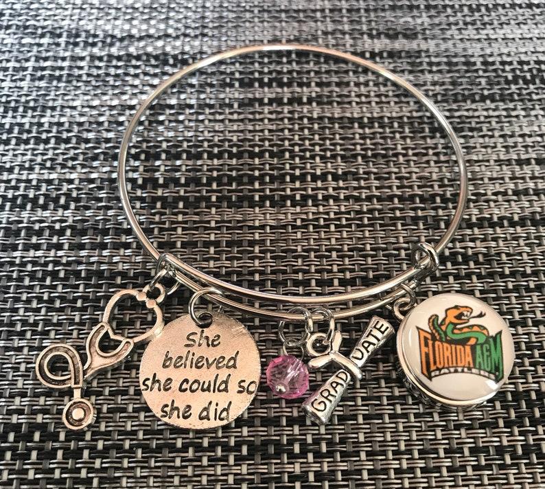 Florida A/&M University HBCU Nursing Medical Graduate Graduation Women/'s Bangle Bracelet