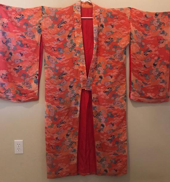 Vintage Rare 1940s Japanese Silk Pongee Kimono