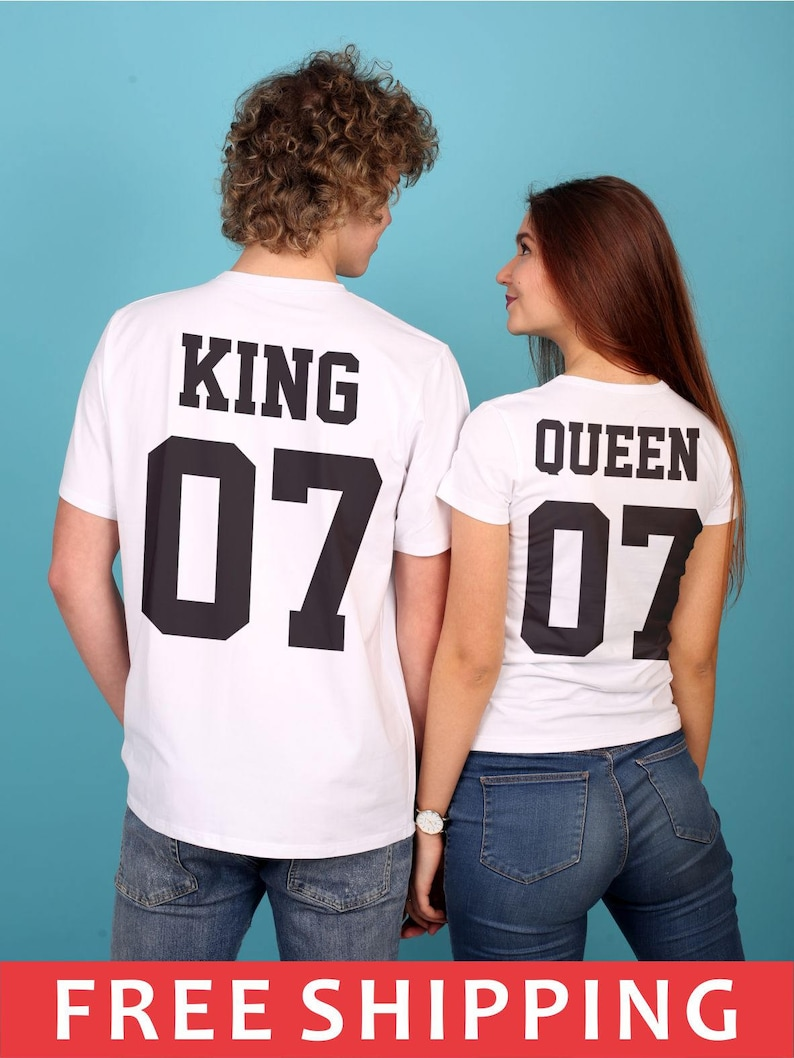 107283db2f King & Queen T-shirts King 07 Queen 07 Couples T-shirt Set   Etsy